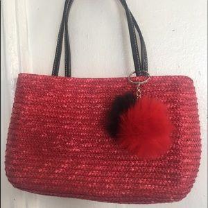 Red mini straw bag